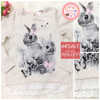 Jual Sale H&M up to 70% Tshirt Rabbit Lace Murah