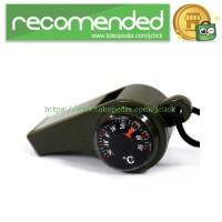 Jual 3 in 1 Whistle Compass Temperature / Peluit Multifungsi - Army Green Murah