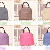 Jual 164 Lunch bag cooler bag Tas bekal Garis Garis Bonus jelly ice Murah