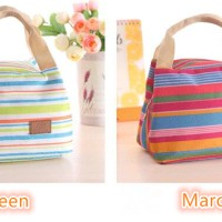 Jual Lunch bag Cooler Bag Motif Salur (bonus 2pcs jelly ice cooler) Murah
