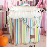 Jual 9037 Lunch bag Cooler bag salur  (bonus 2pcs jelly ice cooler) Murah