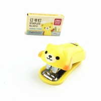 Staples Animal KUNING RILAKUMA + Isi / Mini Stapler Set Cute Unik Lucu