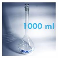 Jual Labu Ukur / Volumetric Flask Clear With Glass Stopper 1000 ml (Iwaki) Murah