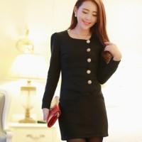 Button Dress Korea Import Black