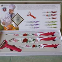 Jual Pisau Dapur pisau motif bunga Kitchen King AntiBacterial Set 4 murah Murah