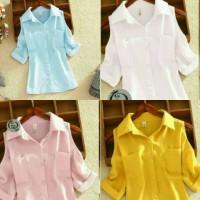 Jual HEM SABRIN white putih blue biru yellow kuning pink blouse twiscone XL Murah