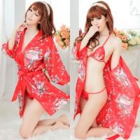 Jual Bikini & Robe Lingerie Murah Merah Motif Bunga 5050z Murah