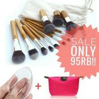 Jual 11 Pcs Bamboo Kabuki Makeup Brush Set Murah