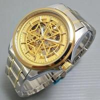 Jual Jam Tangan Rolex Skeleton Rantai Combi Gold  Murah