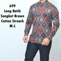 Jual Baju Tangan Panjang Batik Songket Coklat Keren Gaya Trendy Murah