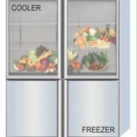 GEA COMBINE GLASS DOOR COOLER & FREEZER TYPE Q1000-L4S 2 COMPRESSOR