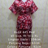 Jual Piyama Satin Batik 445 Red Baju Tidur Wanita Busui Pendek Sleepwear Murah