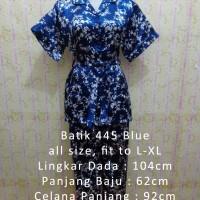 Jual Piyama Satin Batik 445 Blue Baju Tidur Wanita Busui Pendek Sleepwear Murah