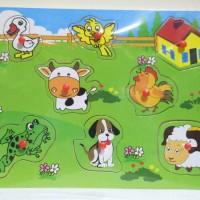 Jual Puzzle Kayu Binatang knop / mainan edukatif farm animal knop Murah