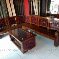 Jual kursi tamu sudut jati (meja makan,sofa,kursi makan,dipan,nakas,lemari) Murah