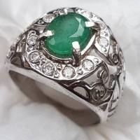 cincin mini permata zamrud jamrud asli natural emerald ring perak 925