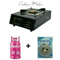 Jual Kompor Gas 1 Tungku Ritachi + Tabung Bright Gas + Selang Gas Winn Murah