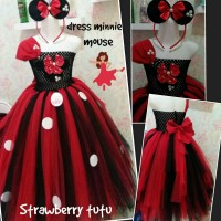 Jual dress tutu minnie black trap&headband Murah