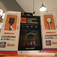 Jual usb 4 port free 2 micro usb fast charging Murah