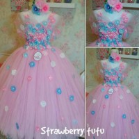 Jual dress tutu flower pink&blue &headband Murah