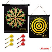 Jual Double Sided Hanging Magnetic Dart Board Set Game 15 Inch with 6 Magne Murah