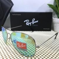 LIMITED Ray Ban Aviator Flash Frame Silver Lensa Green Tosca HIjau