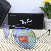 Kacamata Ray ban Aviator Flash Frame Silver Lensa Sky Blue Biru