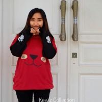 Jual OP2855 Sweater Murah Wanita Roundhand Panda Red KODE Bimb3332 Murah
