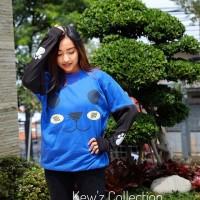 Jual OP2854 Sweater Murah Wanita Roundhand Panda Blue KODE Bimb3331 Murah