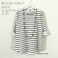 Jual Atasan Blouse Forest White Spandek Rayon High Quality Murah