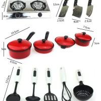 Jual (13pcs) Alat Peralatan Masak Mainan Anak Panci Kompor Kitchen Set Murah