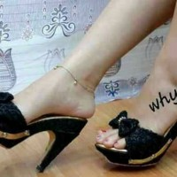 sepatu sandal wanita high heels / heels brukat lolly cream