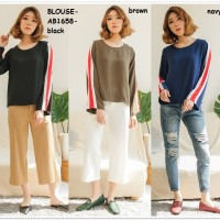 Color Block Sweatshirt Baju Atasan Lengan Panjang Wanita Korea Import