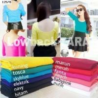 Jual Wanita 12578 Premium Kaos Polos Low Back Lengan 3/4 Size L Murah