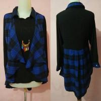 Jual blouse kotak flanel Limited Murah