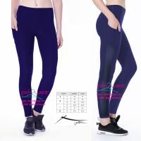 Jual legging / celana senam yoga fitness zumba navy blue mesh Murah