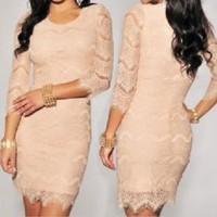 Jual New Look Peach Lace Bodycon Dress Murah