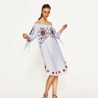 Jual ZARA LINEN DRESS WITH FLOWERS EMBROIDERY ORIGINAL  Murah