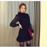 Jual Lowback Black Dress with Long Sleeves Murah