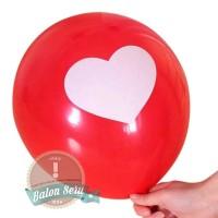 balon / balon latex / balon motif hati / balon merah hati putih