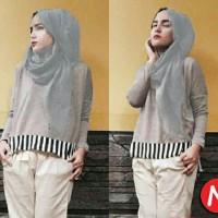 Jual atasan misty tunic blouse muslim + pashmina  Murah