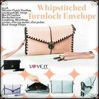 Jual ee.118 Whipstitched Turnlock Envelope Clutch Handbag Import GI Murah