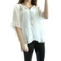 Jual REAL PIC baju batwing putih transparan preloved ( AU684 ) Murah