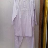 Jual setelan baju koko pakistan warna putih / perlengkapan haji umroh Murah