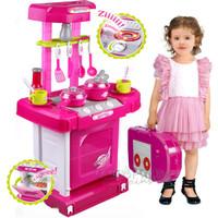 Jual Mainan anak perempuan Kitchen set koper dapur masak masakan lengkap Murah