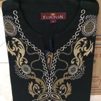 Jual Baju Koko Foxton Model Uje Corak Hitam Kembang Putih Emas Ukuran XL Murah