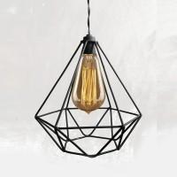 Jual Kap Lampu Gantung Diamond Industrial Besi Cafe Vintage Edison Hias Murah