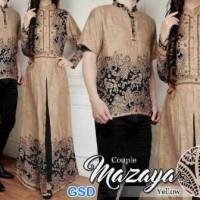 Jual Baju Couple Muslim Gaun Batik Gamis Pasangan cp mazaya Mocca 10756 Murah