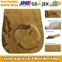 Leather Fit Bag Tas Case Polaroid Instax Mini 8 / 8s / 9 World Map