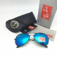 Kacamata Rayban AVIATOR Black Frame with Blue Lens